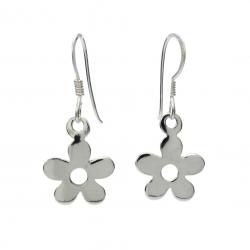 Silver flower hanging earrings