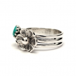 Three band silver flower ring with turquoise