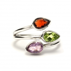 Dainty mixed cut stone silver ring