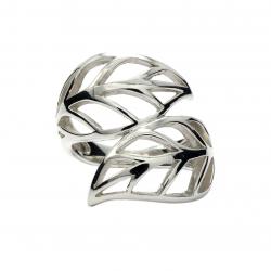 Silver leaf wrap ring