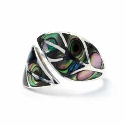 Abalone shell leaf silver ring