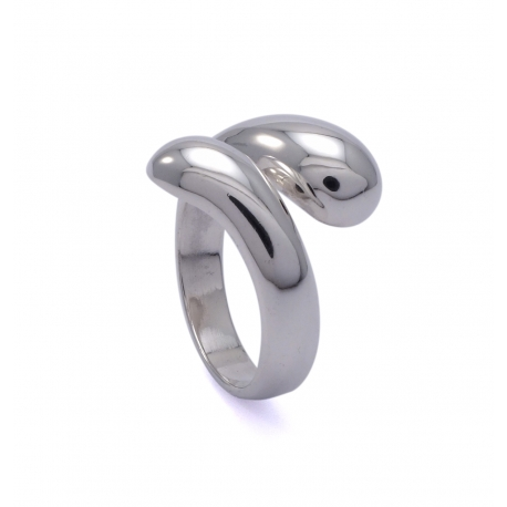 Silver polished wrap around ring