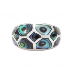 Abalone shell silver bulbous ring
