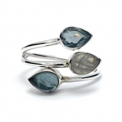 Dainty moonstone, blue topaz and apetite silver ring