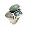 Aqua marine, blue topaz, moonstone silver ring