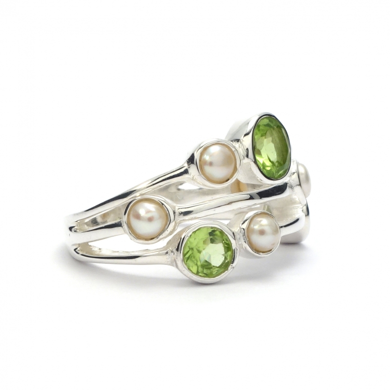 peridot and pearl silver ring silver jewellery ireland