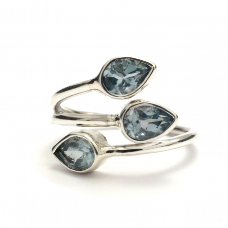 Dainty cut blue topaz ring