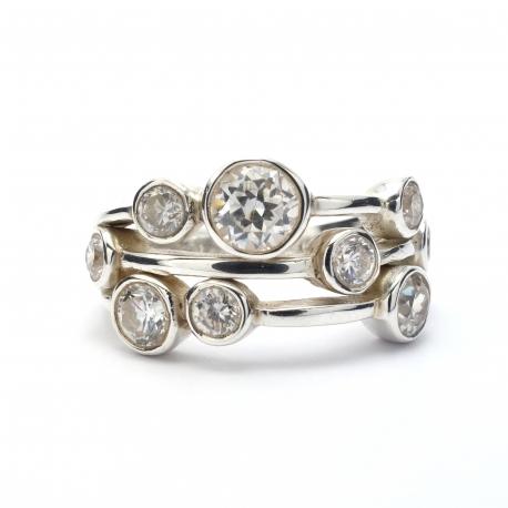 Quartz crystal silver ring