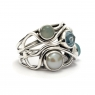 Cut blue topaz, blue chalcedony and pearl silver ring