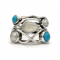 Turquoise, moonstone and pearl silver ring