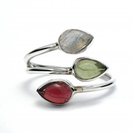 Dainty mixed stone silver ring
