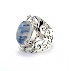 Rainbow moonstone sliver ring