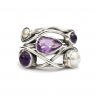 Amethyst and pearl silver ring