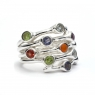 Large multi-coloured cut stone silver ring