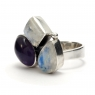 Amethyst and moonstone silver ring