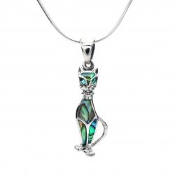 Pendants plain or with semi precious stones silver jewellery ireland abalone cat silver pendant aloadofball Choice Image