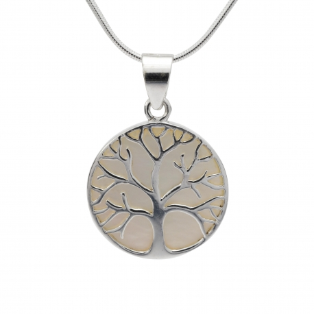 Mother of pearl tree of life silver pendant