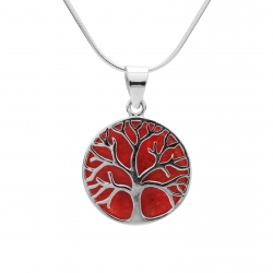 Red coral tree of life silver pendant