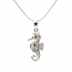 Mother of pearl seahorse silver pendant