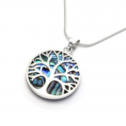 Abalone shell tree of life silver pendant
