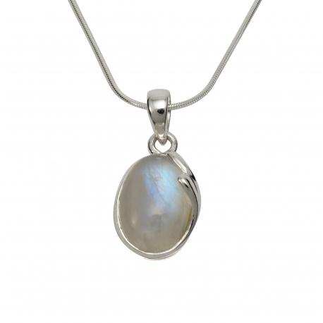 Rainbow moonstone curl silver pendant