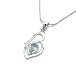Cut blue topaz silver pendant