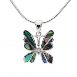 Abalone shell butterfly silver pendant