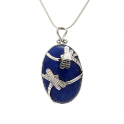 Blue lapis silver dragonfly pendant