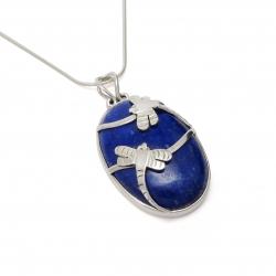 Blue lapis silver dragonfly pendant