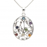 Intricate multi-stone silver pendant