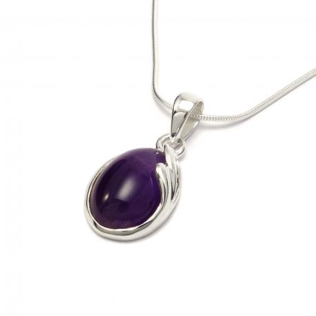 Amethyst curl silver pendant
