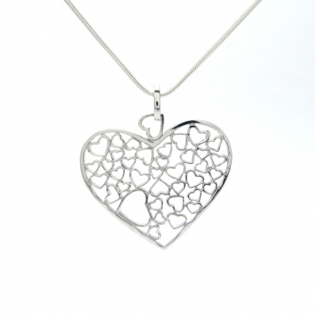 Hearts within a heart silver pendant