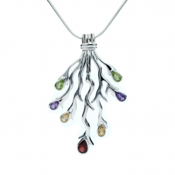 Mulit-coloured silver fork pendant