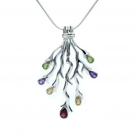 Mulit-coloured silver fork pendant