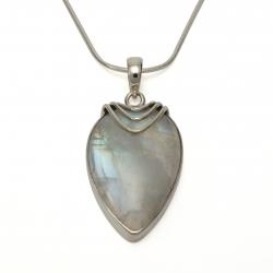 Long moonstone silver pendant