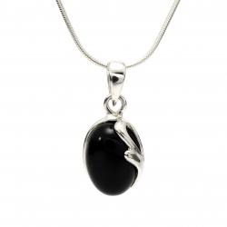 Onyx curl silver pendant