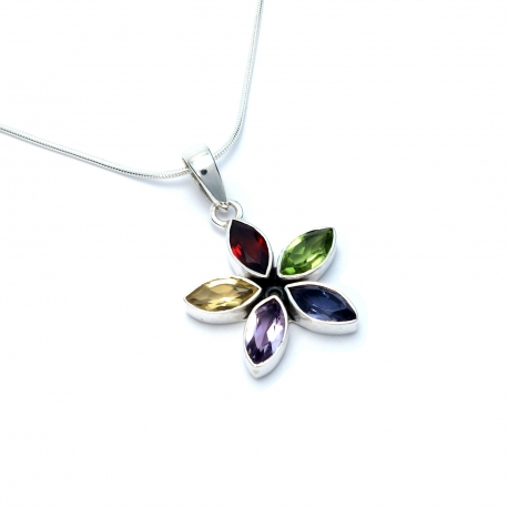 Multi coloured cut stone silver flower pendant