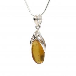 Amber silver pendant