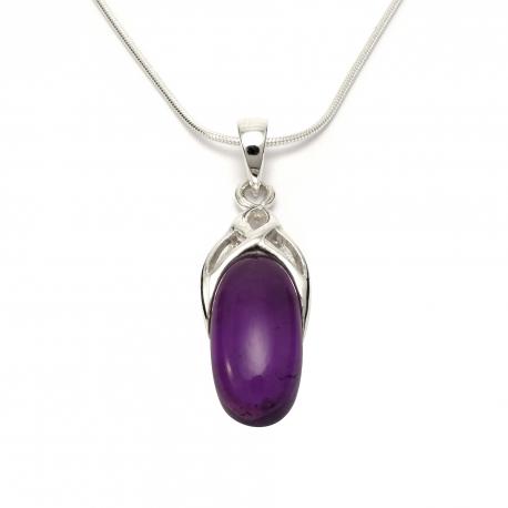 Purple amethyst silver pendant