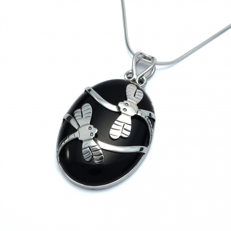 Black onyx silver dragonfly pendant