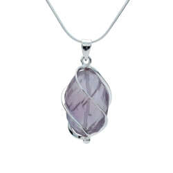 Cut amethyst silver wrapped pendant