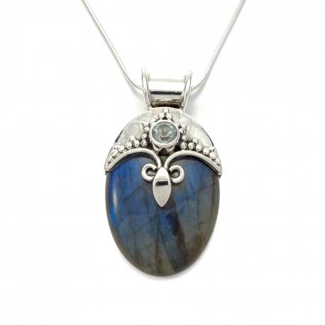 Labradorite and cut blue topaz silver pendant