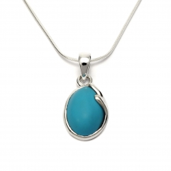 Turquoise curl silver pendant
