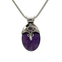 Large amethyst silver pendant