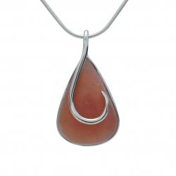 Pink opal silver swirl pendant