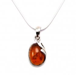 Amber leaf silver pendant