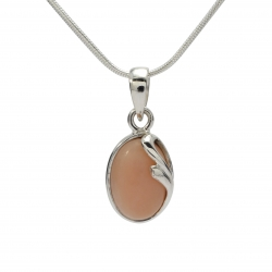 Pink opal curl silver pendant