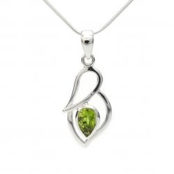 Cut green peridot silver pendant