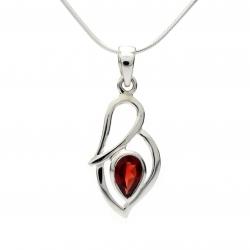 Cut red garnet silver pendant