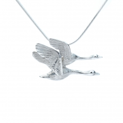 Flying geese silver pendant
